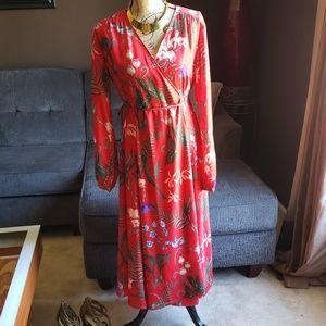 Flower Print Red Dress